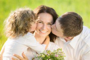 Mom Kissed by Kids