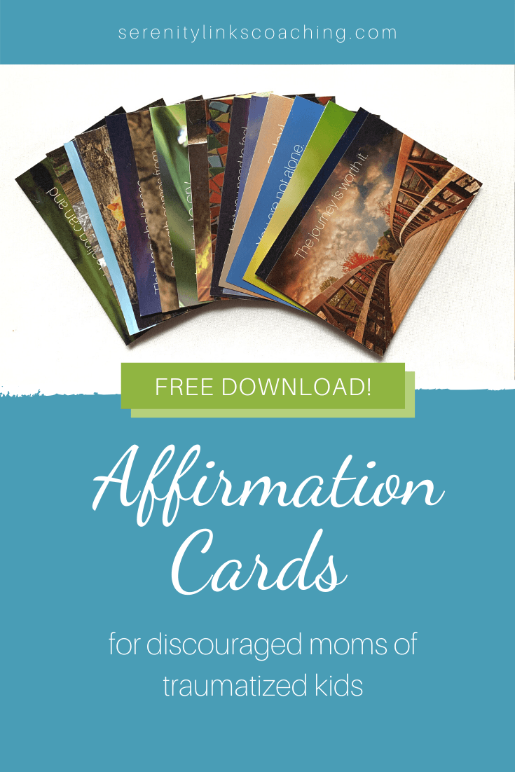 Get your beautiful and FREE affirmation cards designed especially for moms of traumatized kids by clicking this pin! Parenting traumatized kids can be frustrating, lonely, and a whole lot more. These little affirmation cards are a great pick-me-up, especially on the hard days.  What you do matters, and so do you, Mama! Repin and share the post and these beautiful cards with your friends!
