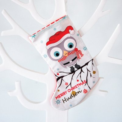 Boy owl christmas stocking