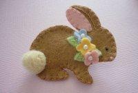 Felt Bunny Brooch Easter Bunny Spring Beaded Flowers