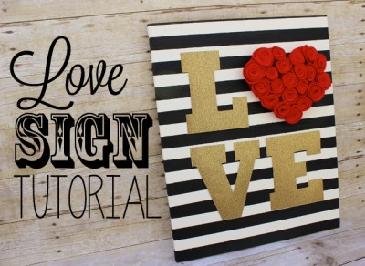 gold glitter felt heart love sign tutorial