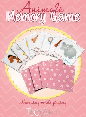 Animals Memory Game. Learning Words playing + Printables