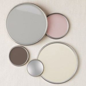 Color palette: grey, pink, cream, brown