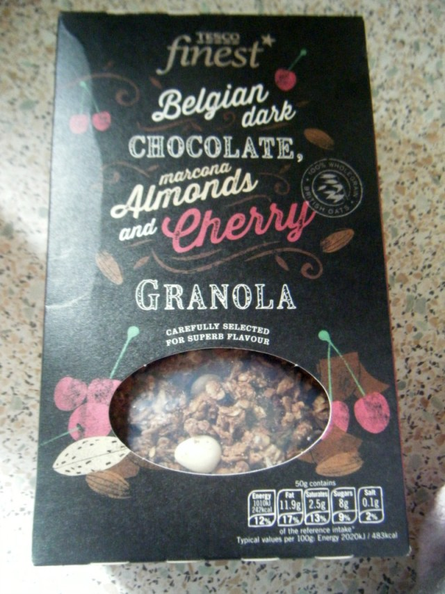 Tesco Finest Chocolate, almonds and cherry granola