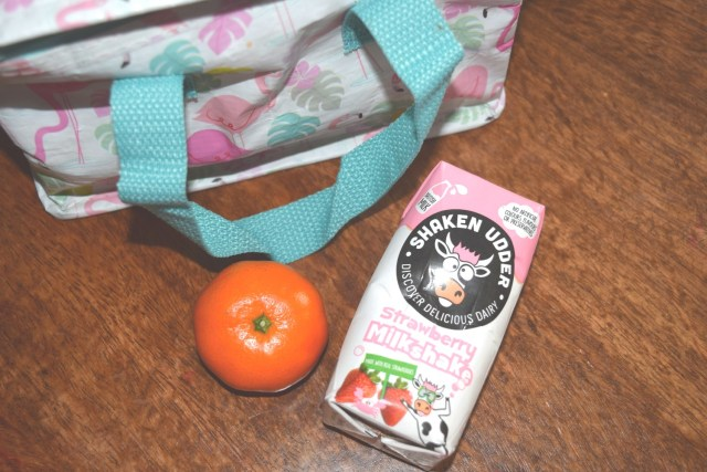 shaken udder strawberry milkshake - lunch bag