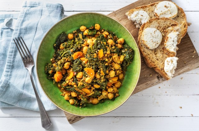 Egyptian Inspired Lentils with Dukkah and Goat's Cheese Toast recipe