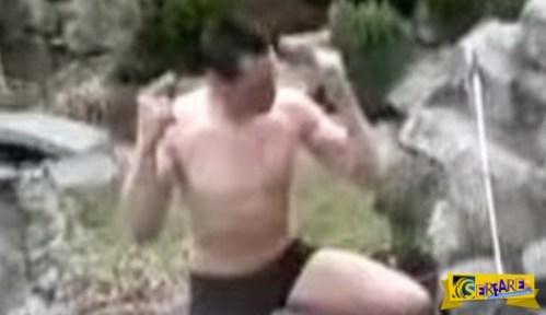 Γελοίο ατύχημα: Γερμανός κάνει βουτιά σε παγωμένη πισίνα!