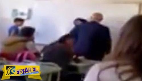 Δε το χωράει το μυαλό μας! Καθηγητής σβήνει τον πίνακα με το κεφάλι μαθητή!
