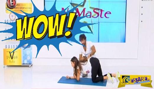 Η Χριστίνα Μουστάκα πέφτει στα… γόνατα και κάνει γυμναστική!