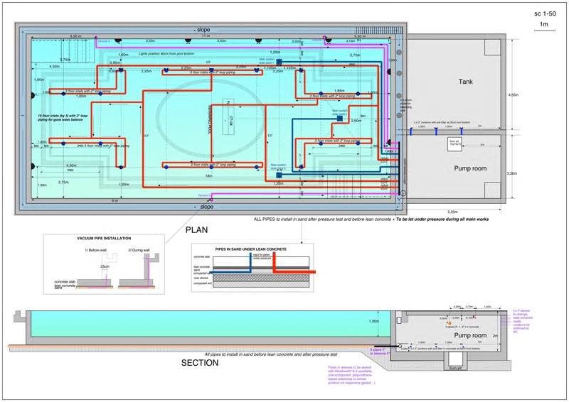 Strand hotel pool Pipes layout