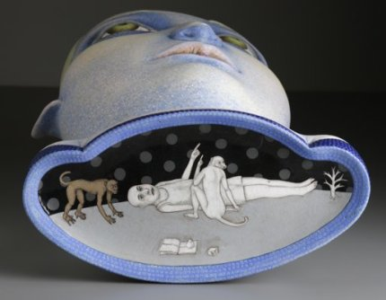 """In The Clouds,"" 2008, stoneware, stain, glaze, 34.5 x 17 x 9""."