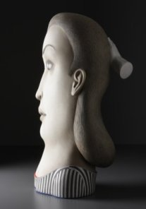 """Make-Up,"" 2008, stoneware, stain, glaze, 34 x 20 x 15""."