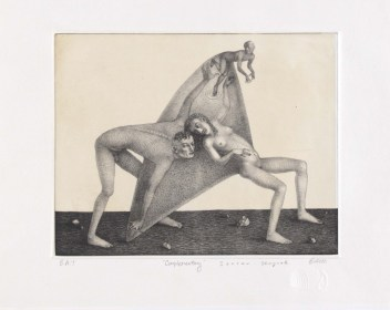 """""""Complimentary,"""" 2000, vitreograph, siligraphy, intaglio, image: 8 x 10"""", paper: 14 x 16""""."""