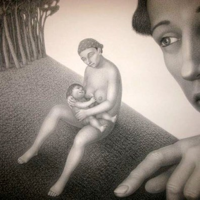 """Sincerity,"" 2010, charcoal on paper, 46.5 x 60""."