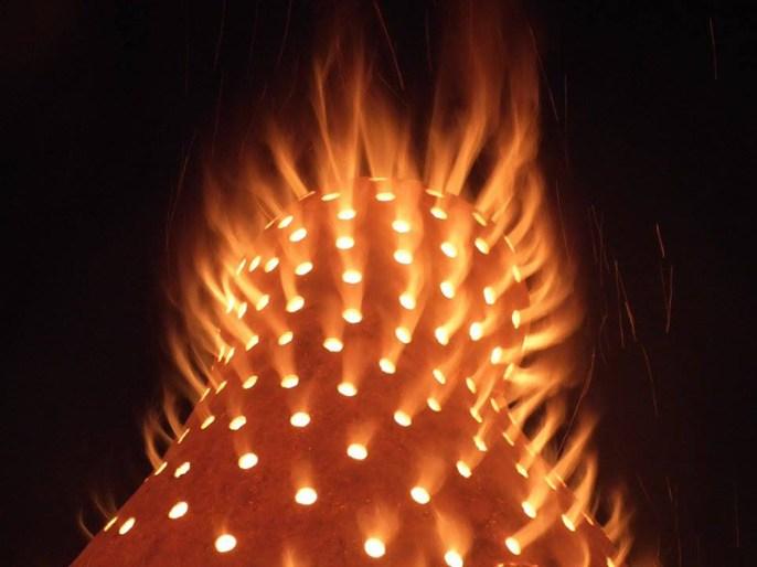 "Sergei Isupov, ""Fire Sculpture"" 2017, fire burns within the form. Photo courtesy Pricilla Mouritzen."