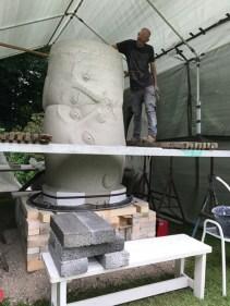 "Sergei Isupov, ""Fire Sculpture"" 2017, building the form in stoneware."