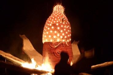 """Sergei Isupov, """"Fire Sculpture"""" 2017, on fire. Photo courtesy Pricilla Mouritzen."""