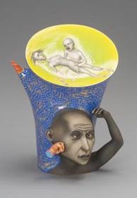 "Sergei Isupov, ""Punishment"" 2005, porcelain, slip, glaze, 11 x 8 x 7""."