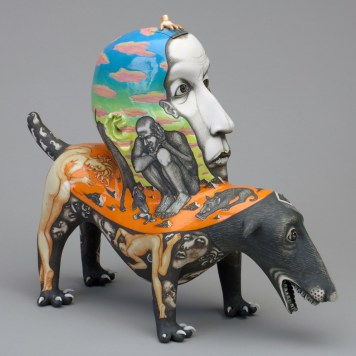 """""""Redemption Day,"""" 1998, porcelain, glaze, stain, 13 x 15 x 6.5"""". Collection of Racine Art Museum, Racine, WI."""