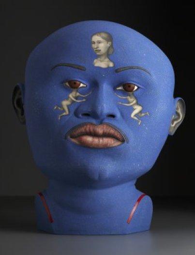 """""""Busker"""" 2009, stoneware, stain, glaze, 28 x 22.5 x 12""""."""