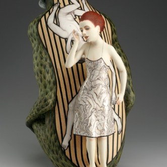 """The Fear Has Big Eyes,"" 2013, porcelain, slip, glaze, 21 x 19 x 11""."