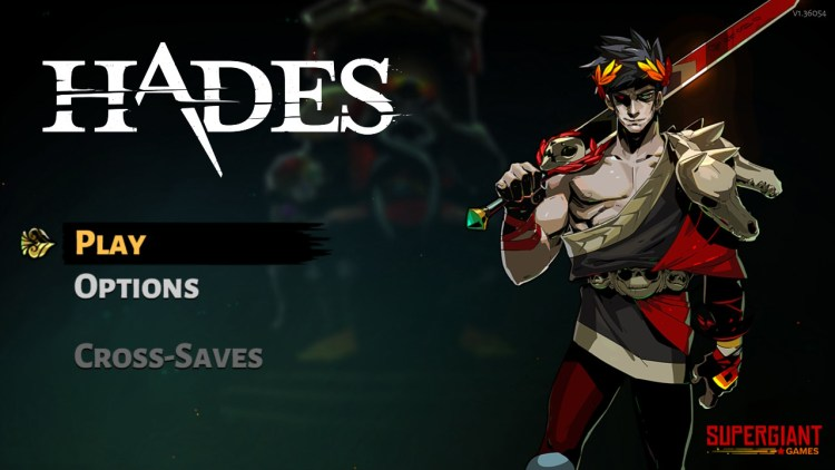 Title screen of the game to start the Hades review