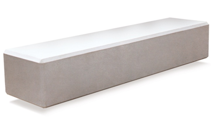 banco de hormigon prefabricado modelo bloque macizo blanco liso de 2,40