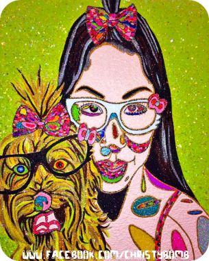 "Coco Loco © 2013 // 20"" x 16"" Glitter, acrylic paint, glass beads, Swarovski cut crystals on canvas christybomb glitter bombs Glitter and acrylic paint on canvasHello Kitty Loves Emmebear"