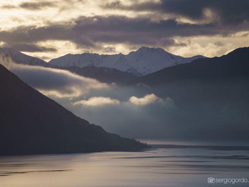 lake clouds fog wakatipu