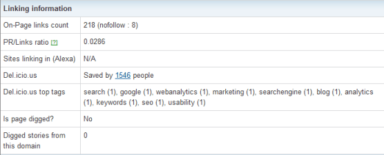 Herramientas SEO: Enlaces en Site Information Tool