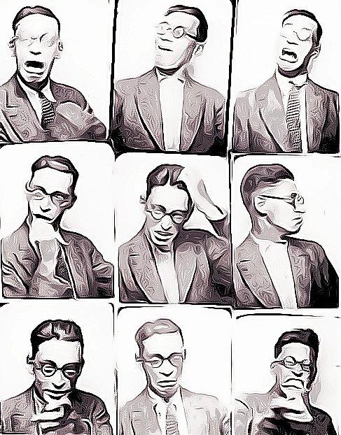 Fotos de Raymond Queneau, autor de los Ejercicios de estilo.