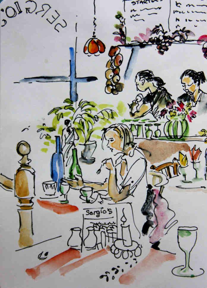 Sergio's Italian Restaurant Bristol Post Card By Beverley Fry