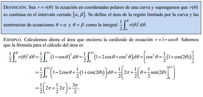 Cálculo de áreas en coordenadas polares (2/2)