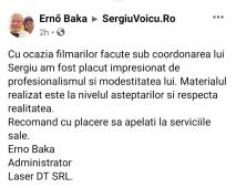 ERNO BAKA - TESTIMONIAL SERGIUVOICU.RO