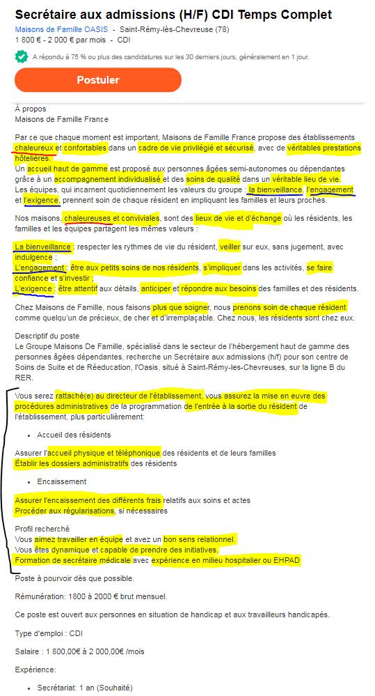 Exemple d'annonce d'emploi avec une longue description de l'entreprise - annotée