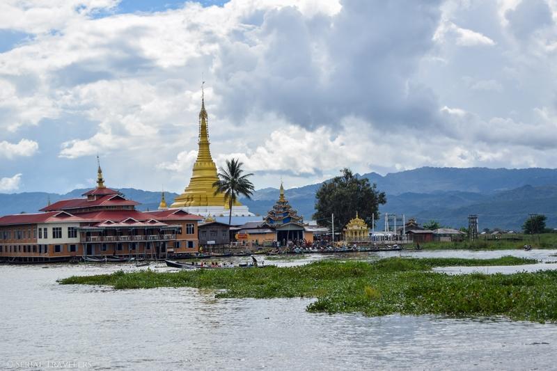 serial-travelers-myanmar-inle-lake-floating-restaurant-golden-kite-pagoda-view