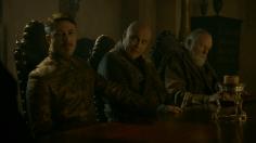 """Petyr """"Meñique"""" Baelish, el eunuco Varys """"La Araña"""" y Gran Maestre Pycelle"""