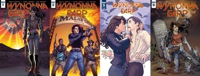 Capas de algumas edições de Wynonna Earp, HQ na qual a série se baseou, escrita por Beau Smith.