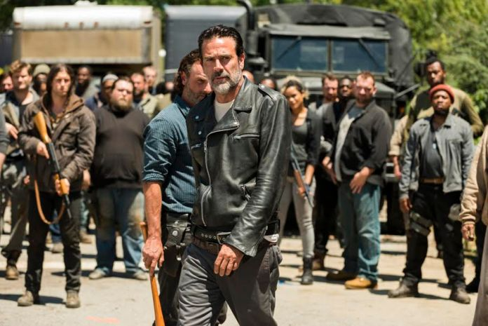 Saviors, Jeffrey Dean Morgan as Negan, Andrew Lincoln as Rick Grimes - The Walking Dead _ Season 7, Episode 4 - Photo Credit: Gene Page/AMC