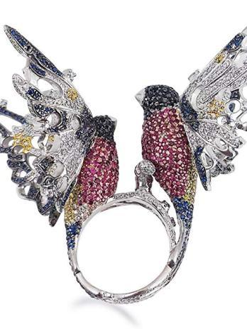 Adastra Jewelry - Anillo de plata de ley 925 con circonita cúbica estilo pájaro
