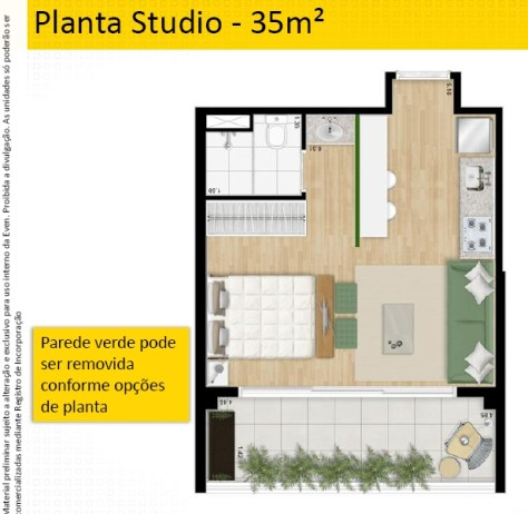 Planta Studio 35 m2 do NY SP , empreendimento residencial compacto no Brooklin