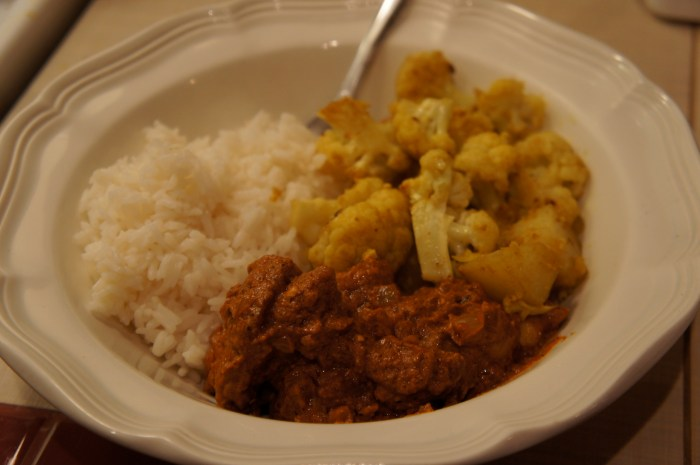 Indian Dinner: Chicken Makhani and Indian Spiced Cauliflower and Potatoes