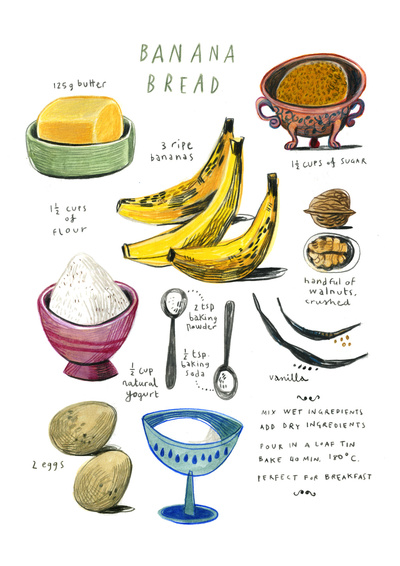 Kitchen Art: Illustrated Recipe for Banana Bread // Serious Crust by Annie Fassler