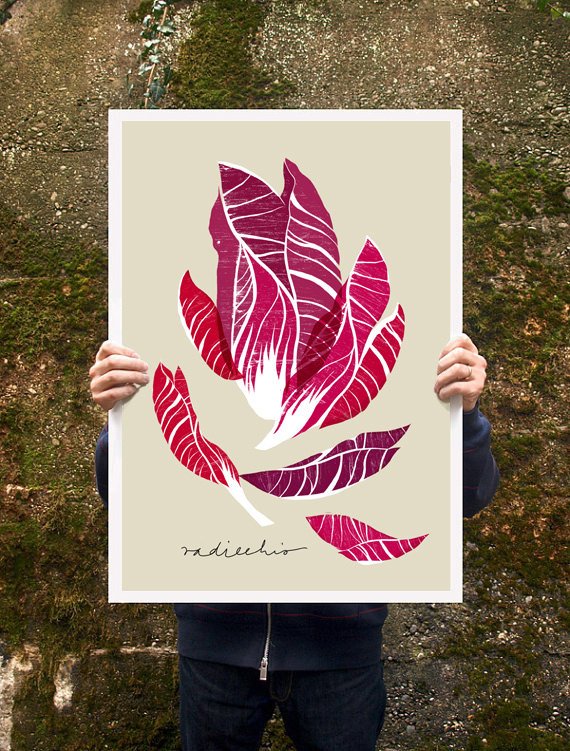 Kitchen Art: Radicchio Print // Serious Crust by Annie Fassler