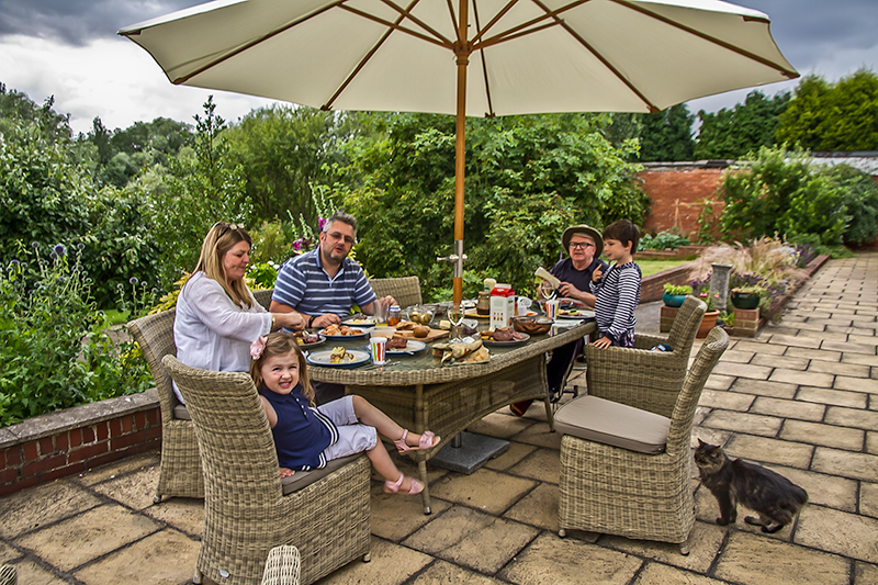 family meal in the garden