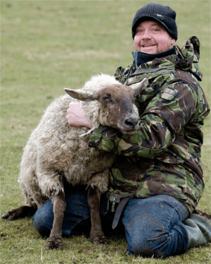 Only farmer Julian Tustian was happy to see that British PM Cameron failed to kill Swampy. (Why do sheep farmers wear camouflage? Ewe don't want to know.)
