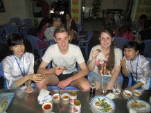 Kids enjoying the food on the XO tour.