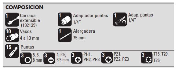 """Juego Vasos 1/4"""" 29 piezas composicion"""