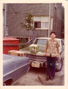 채영세씨 with Dodge Duster, Chicago 1974