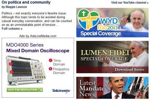 Catholic News Service website에 '출현'한 Oscilloscope광고
